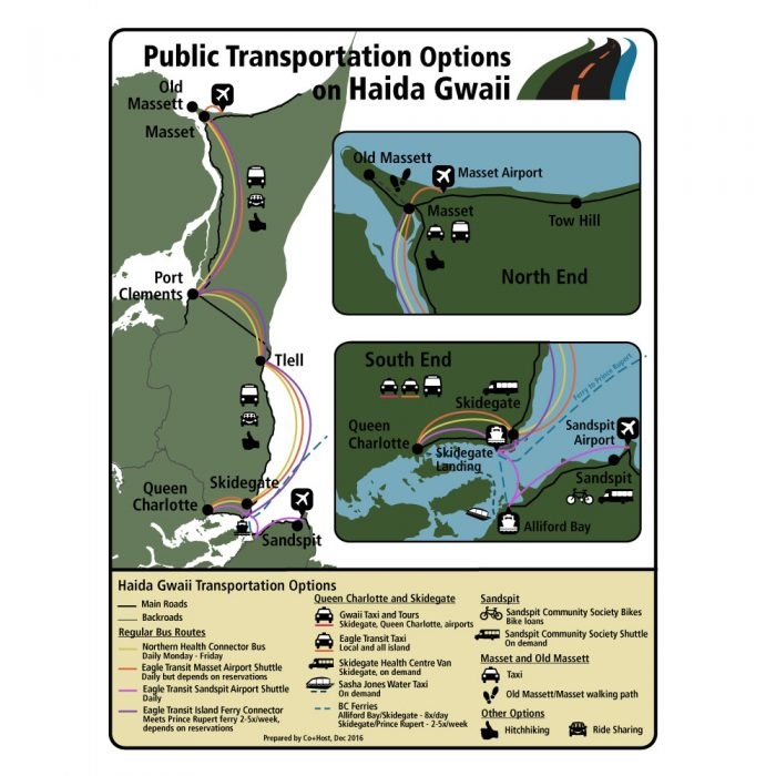 Public Transportation on Haida Gwaii Map